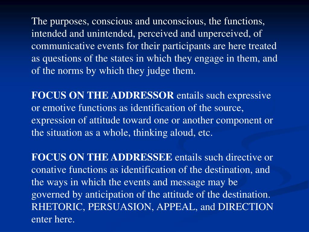 The purposes, conscious and unconscious, the functions, intended and unintended, perceived and unperceived, of communicative events for their participants are here treated as questions of the states in which they engage in them, and of the norms by which they judge them.