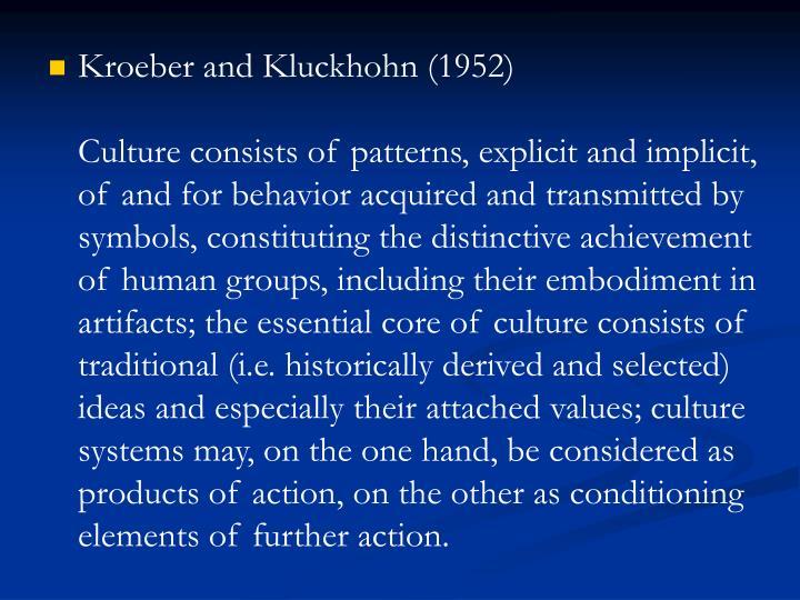 Kroeber and Kluckhohn (1952)