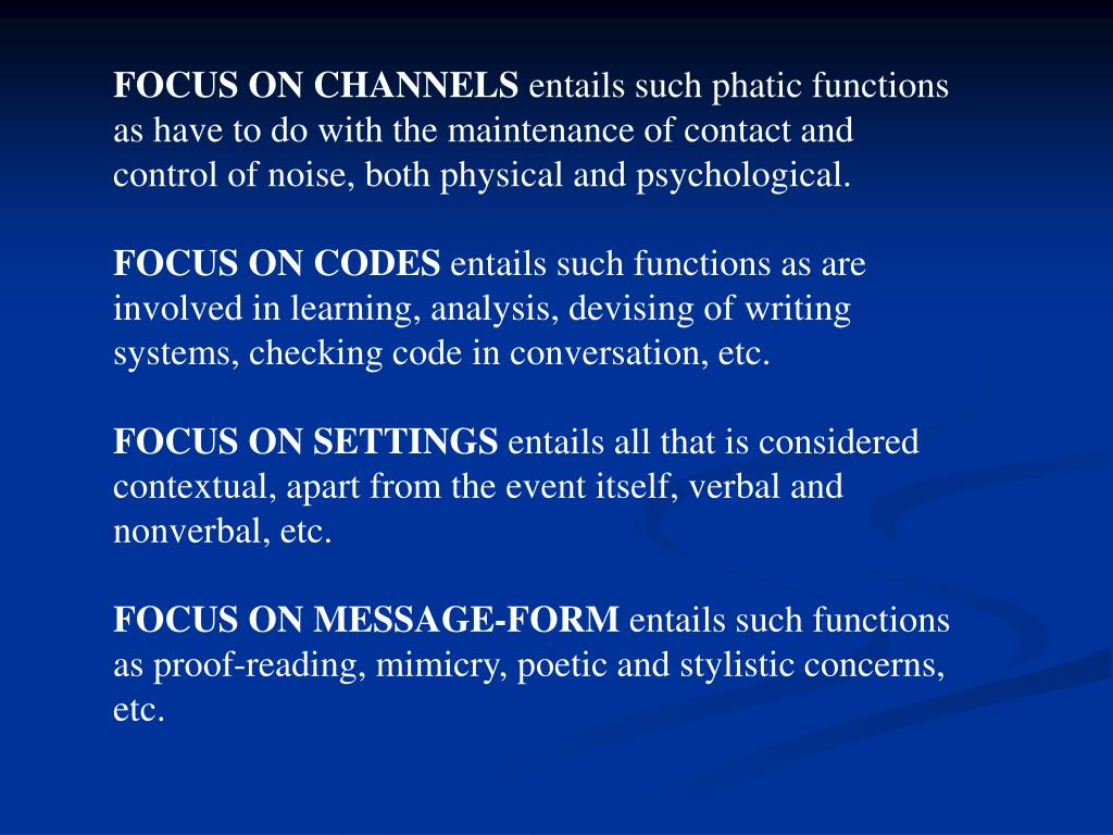 FOCUS ON CHANNELS