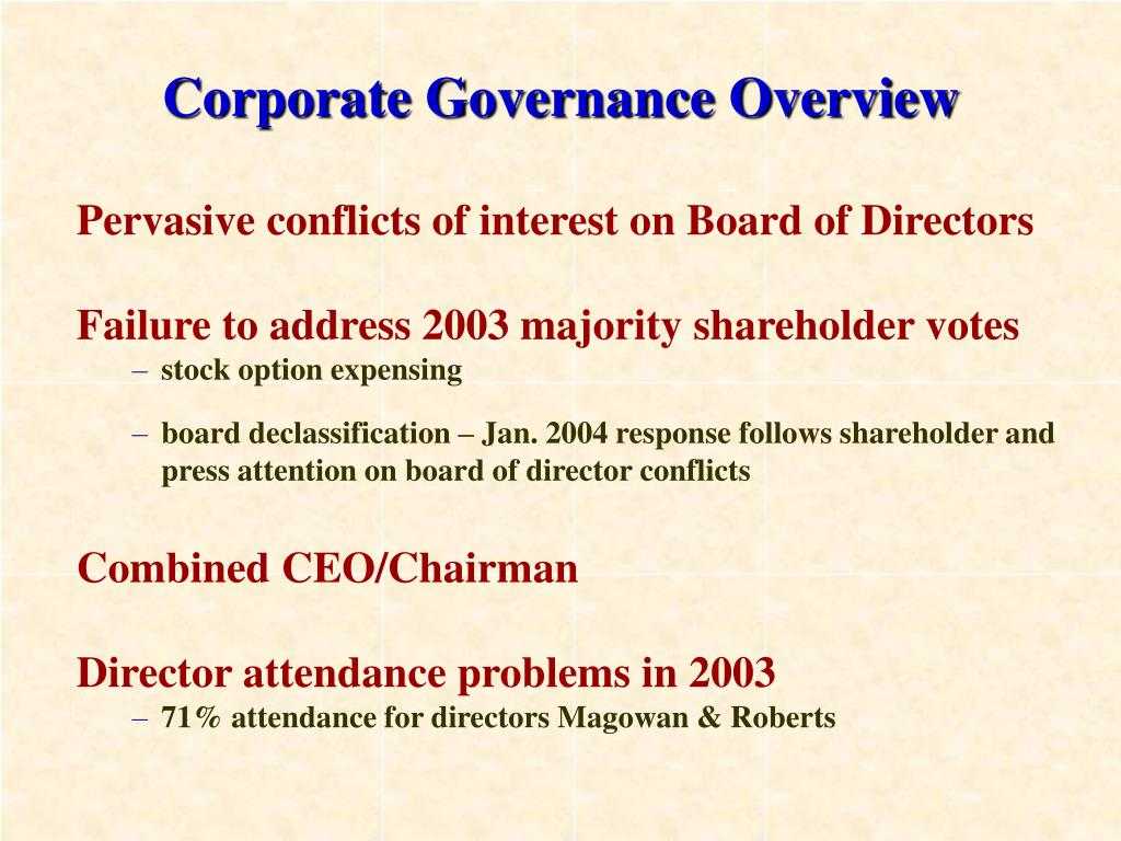 Corporate Governance Overview