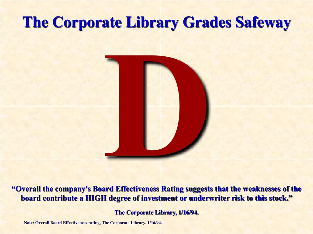 """Overall the company's Board Effectiveness Rating suggests that the weaknesses of the board contribute a HIGH degree of investment or underwriter risk to this stock."""