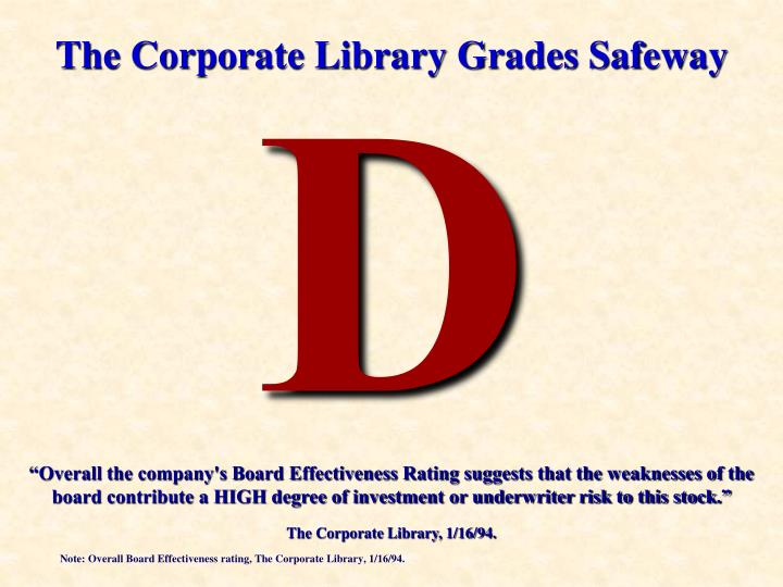 """Overall the company's Board Effectiveness Rating suggests that the weaknesses of the board contri..."