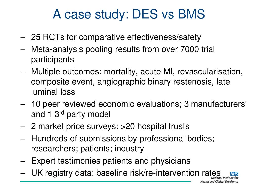 A case study: DES vs BMS