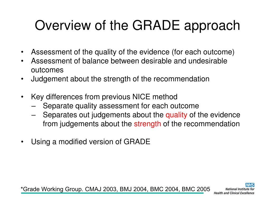 Overview of the GRADE approach