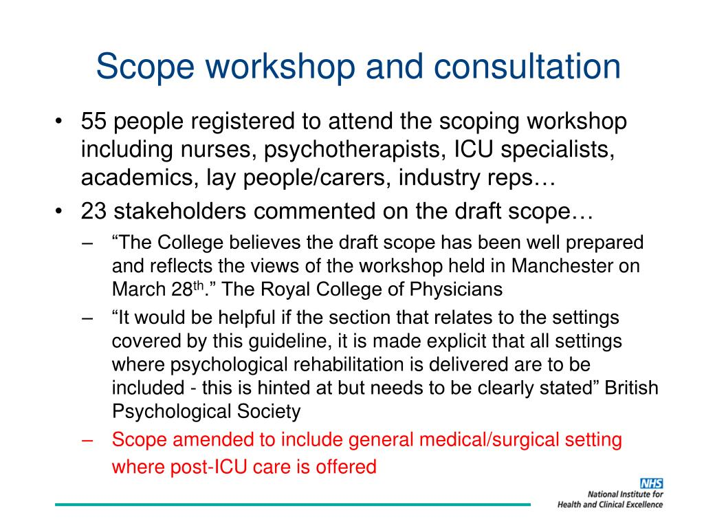 Scope workshop and consultation