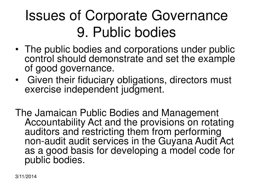 Issues of Corporate Governance
