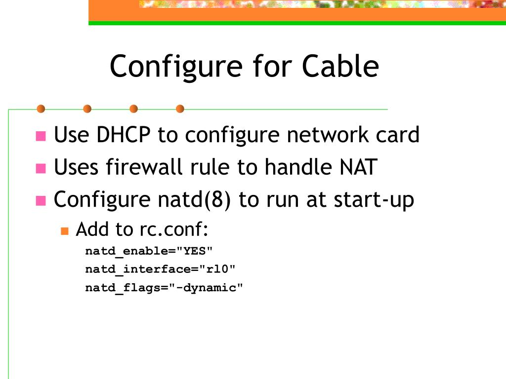 Configure for Cable