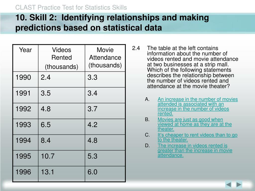 10. Skill 2:  Identifying relationships and making predictions based on statistical data