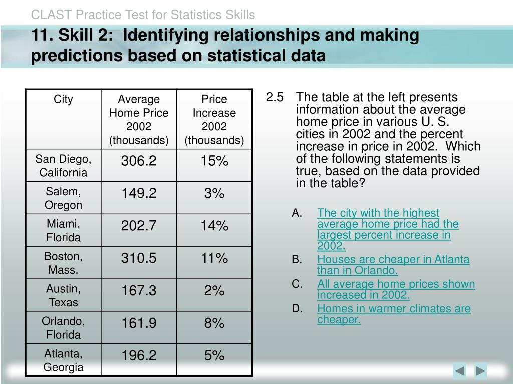 11. Skill 2:  Identifying relationships and making predictions based on statistical data