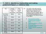 11 skill 2 identifying relationships and making predictions based on statistical data