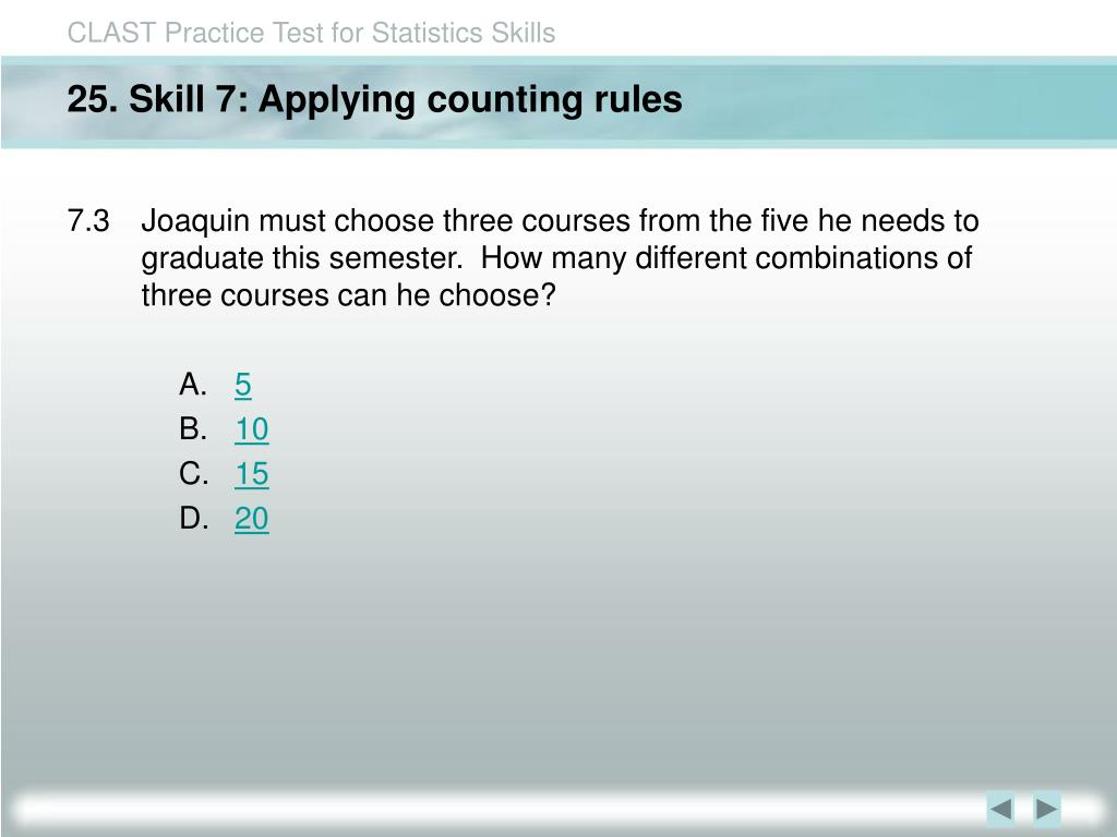 25. Skill 7: Applying counting rules