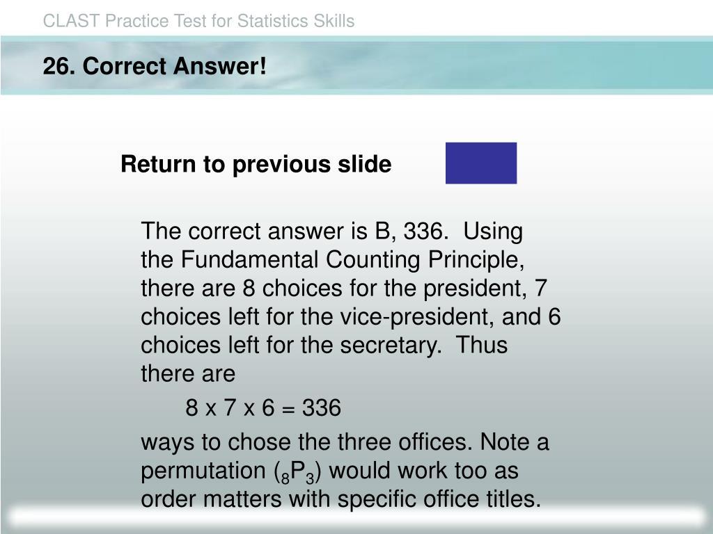 26. Correct Answer!