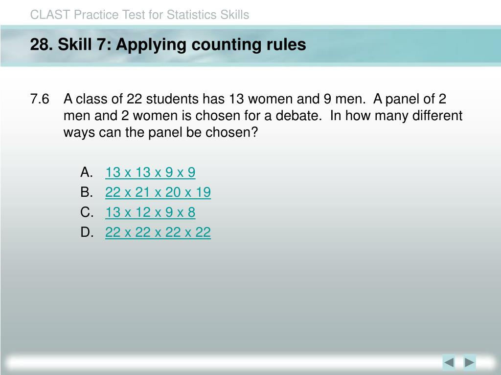 28. Skill 7: Applying counting rules