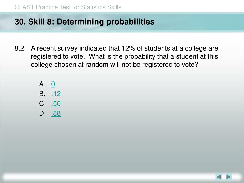 30. Skill 8: Determining probabilities