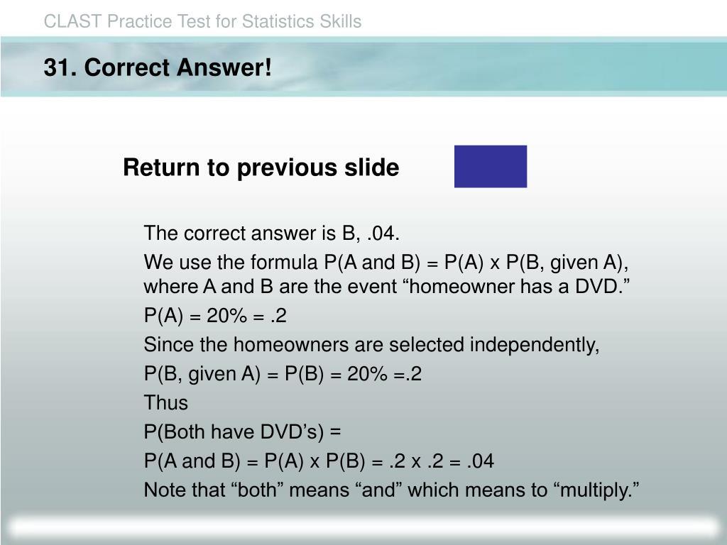 31. Correct Answer!