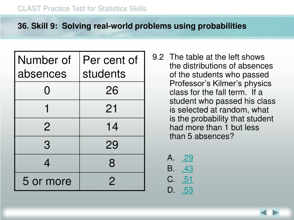 36. Skill 9:  Solving real-world problems using probabilities