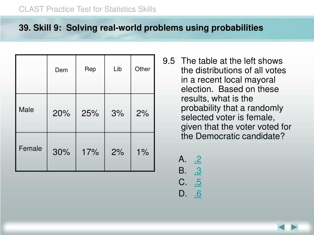 39. Skill 9:  Solving real-world problems using probabilities