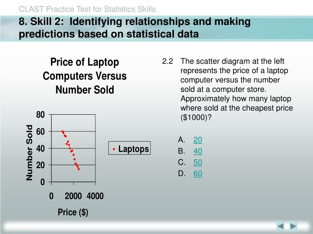 8. Skill 2:  Identifying relationships and making predictions based on statistical data