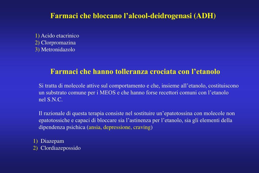 Farmaci che bloccano l'alcool-deidrogenasi (ADH)