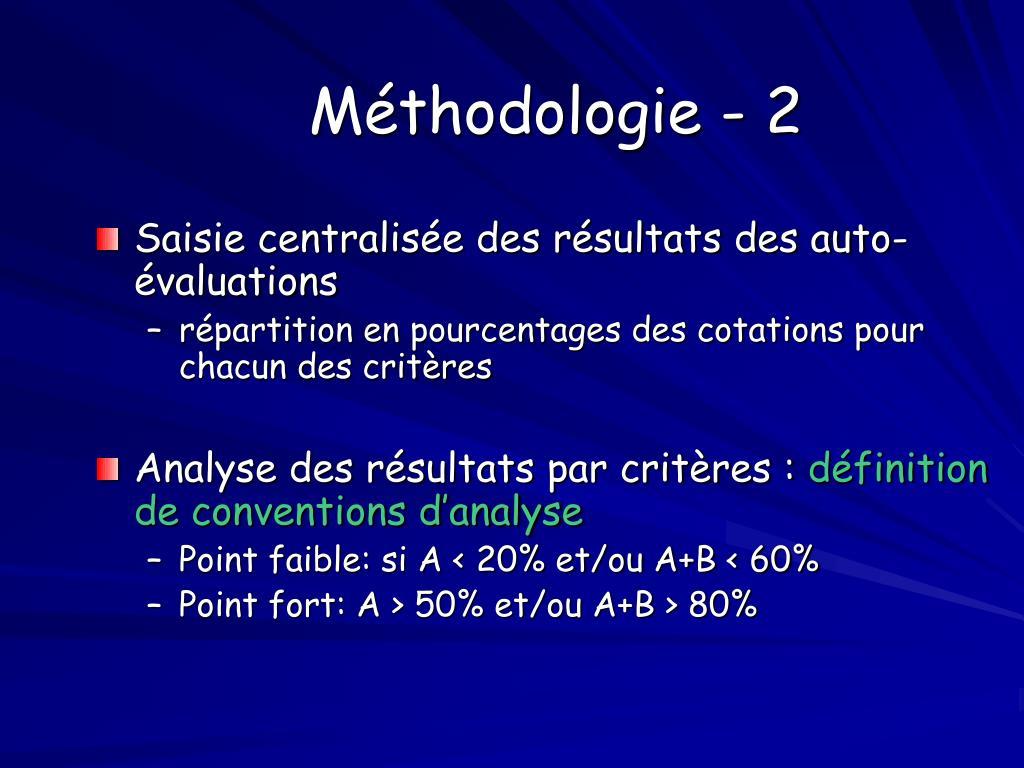 Méthodologie - 2