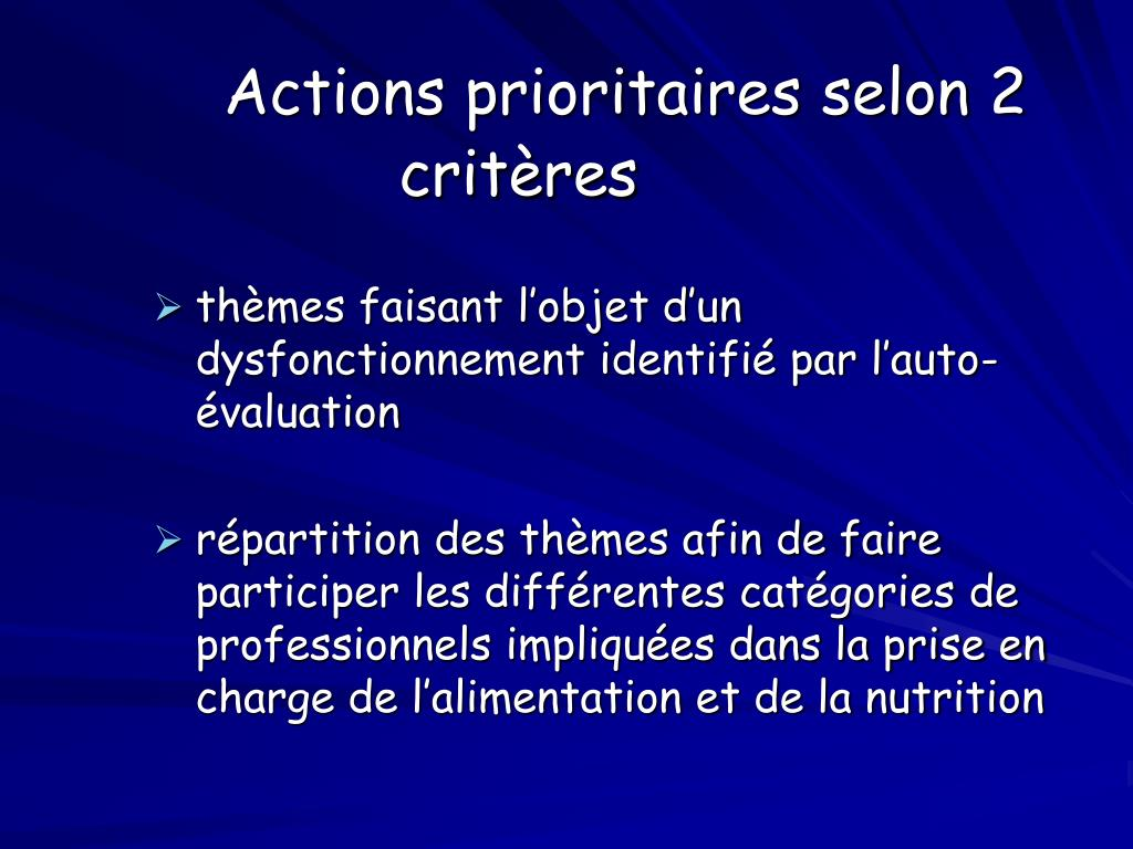 Actions prioritaires selon 2 critères