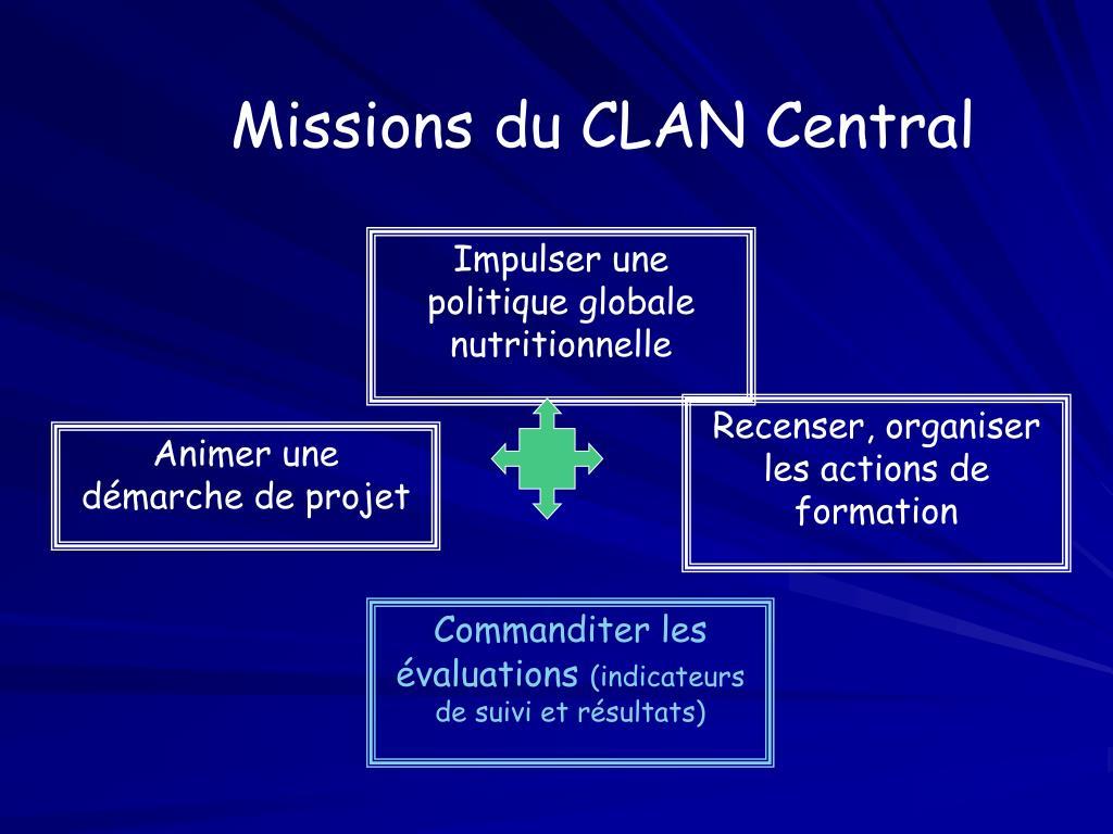 Missions du CLAN Central