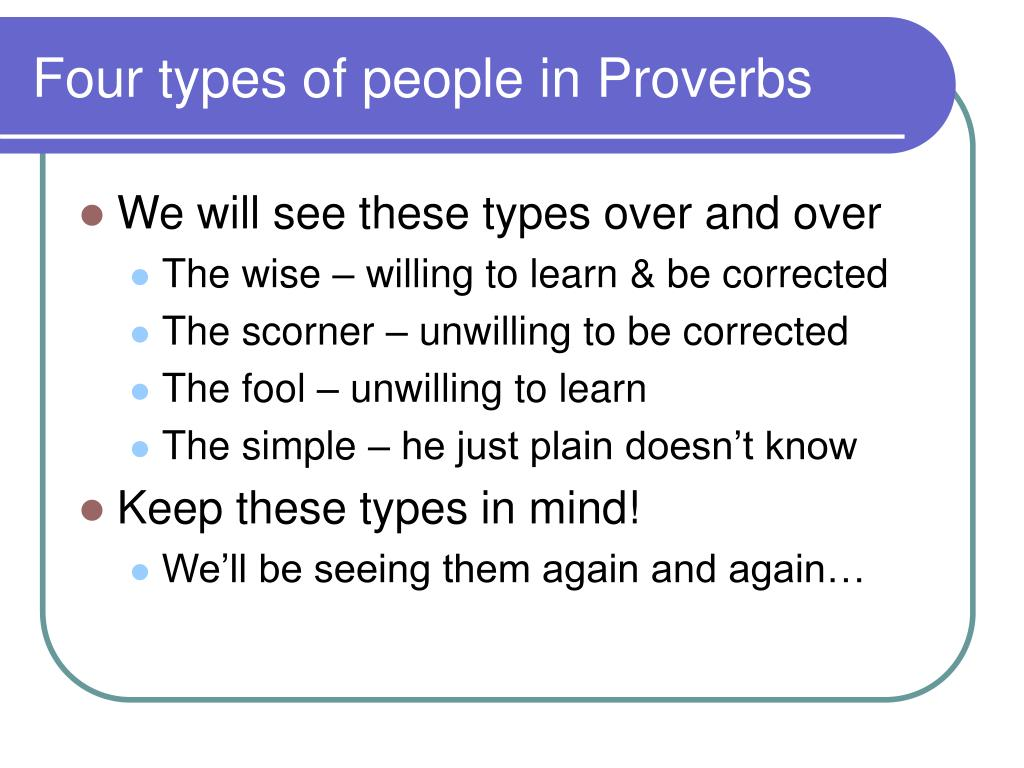 Four types of people in Proverbs