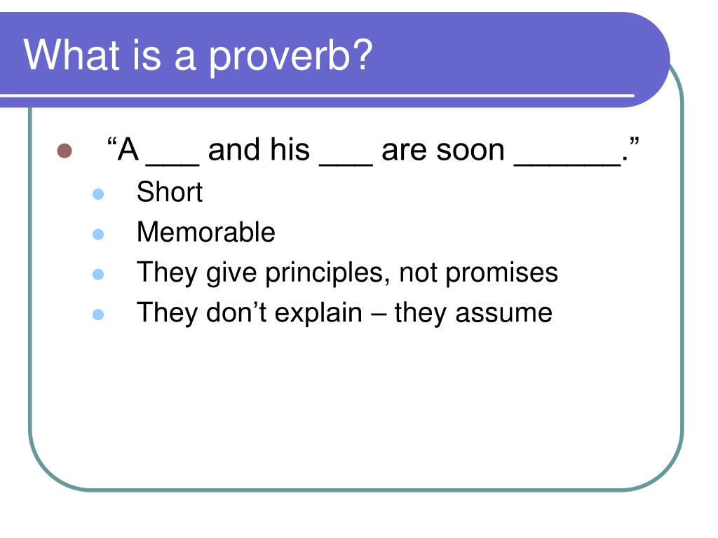 What is a proverb?