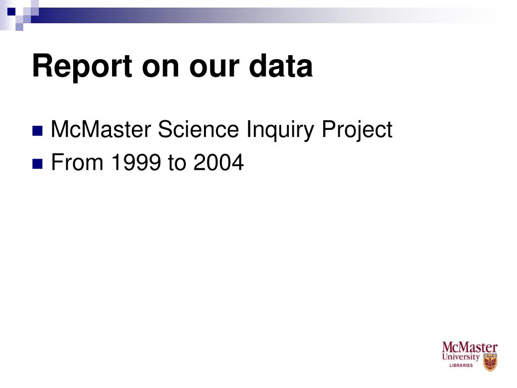 Report on our data