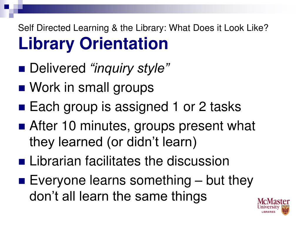 Self Directed Learning & the Library: What Does it Look Like?