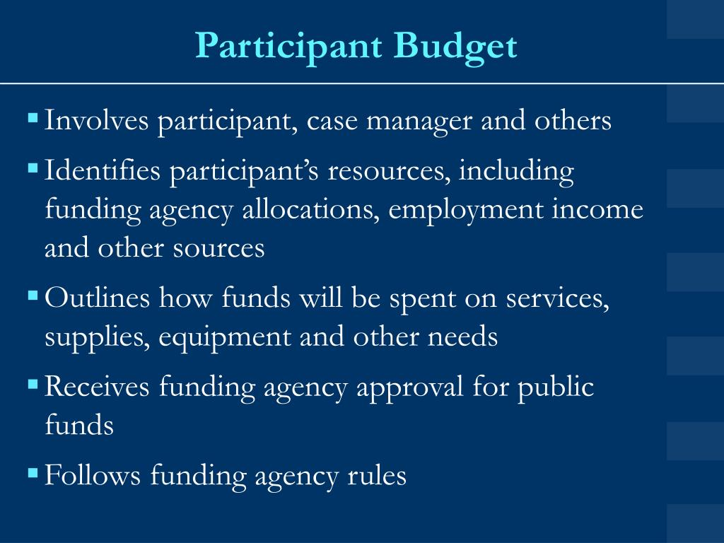 Participant Budget