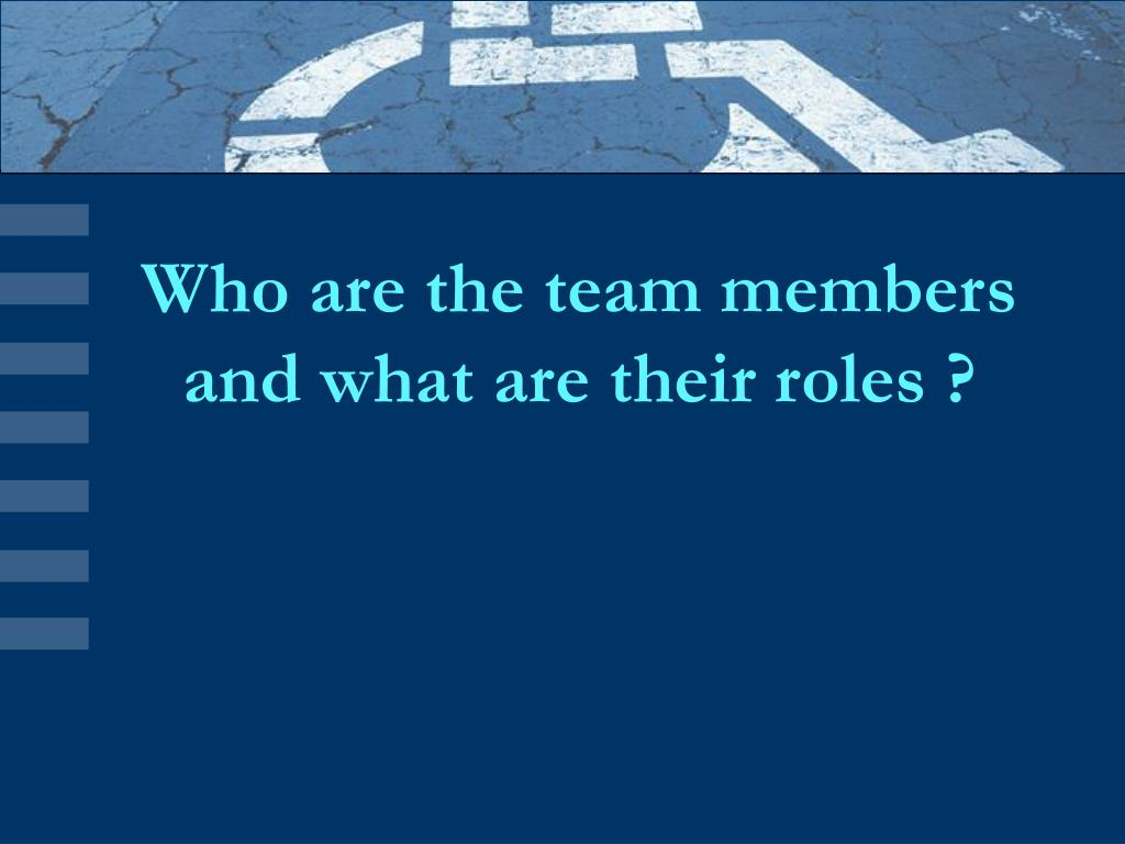 Who are the team members and what are their roles ?