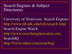search engines subject directories