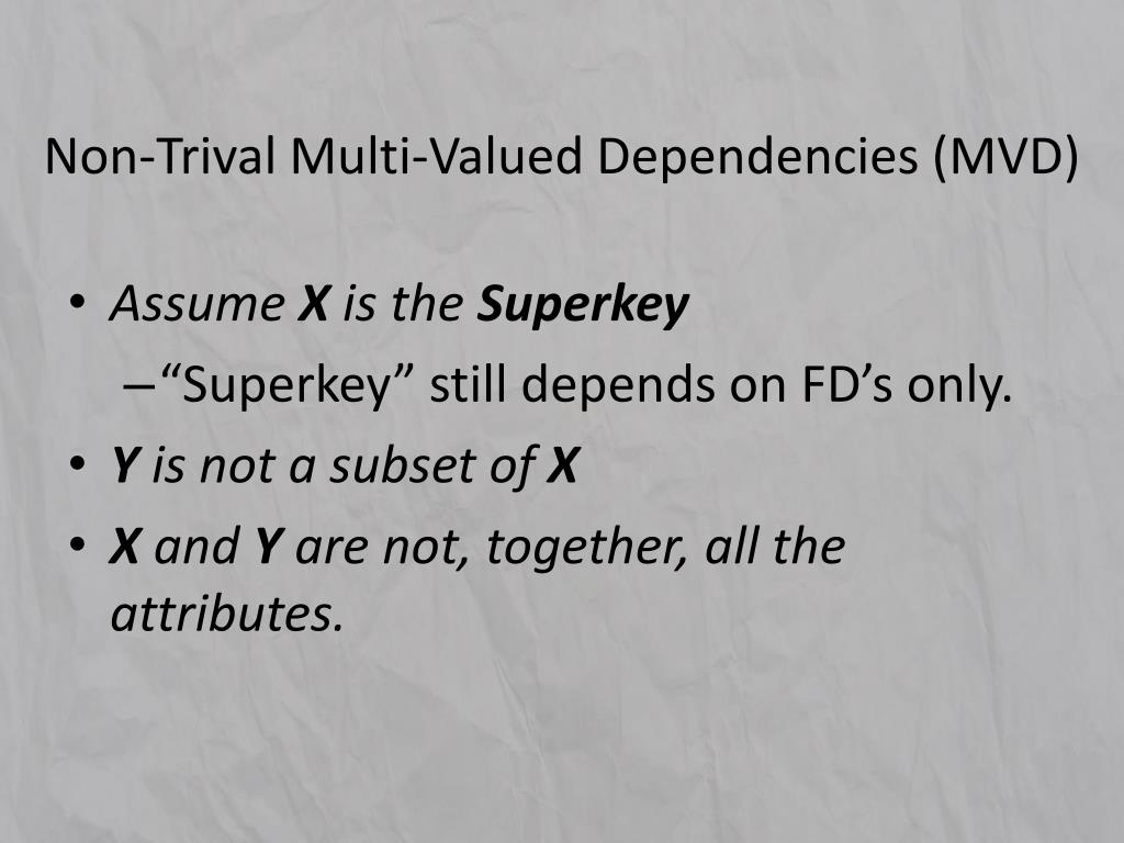Non-Trival Multi-Valued Dependencies (MVD)