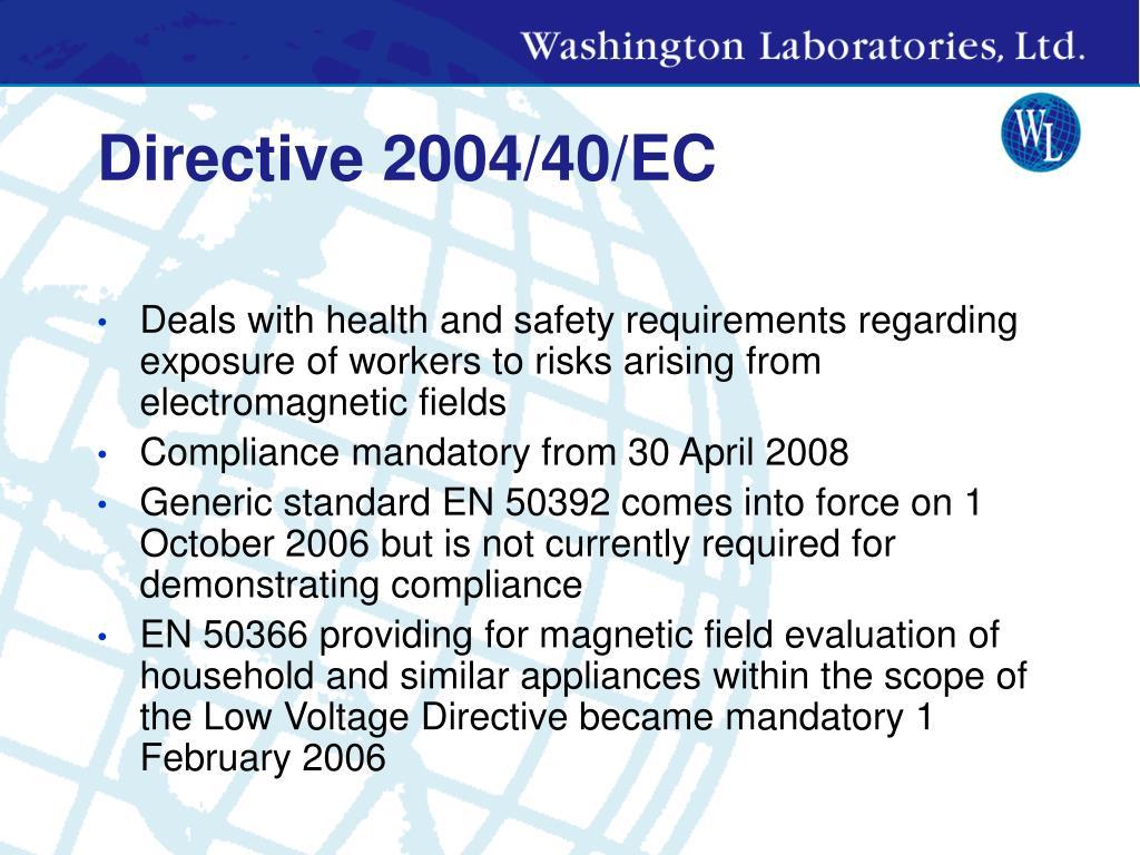 Directive 2004/40/EC