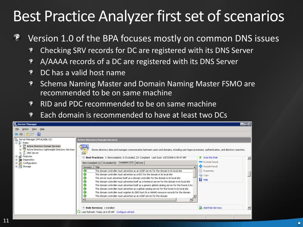 Best Practice Analyzer first set of scenarios