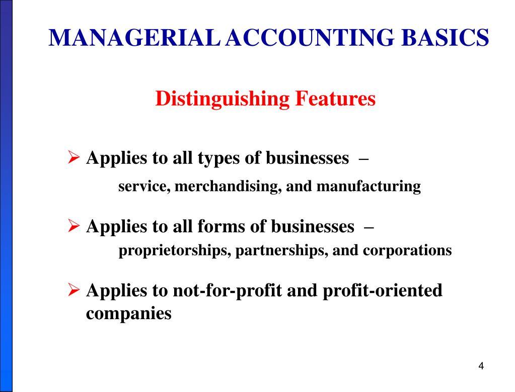 MANAGERIAL ACCOUNTING BASICS