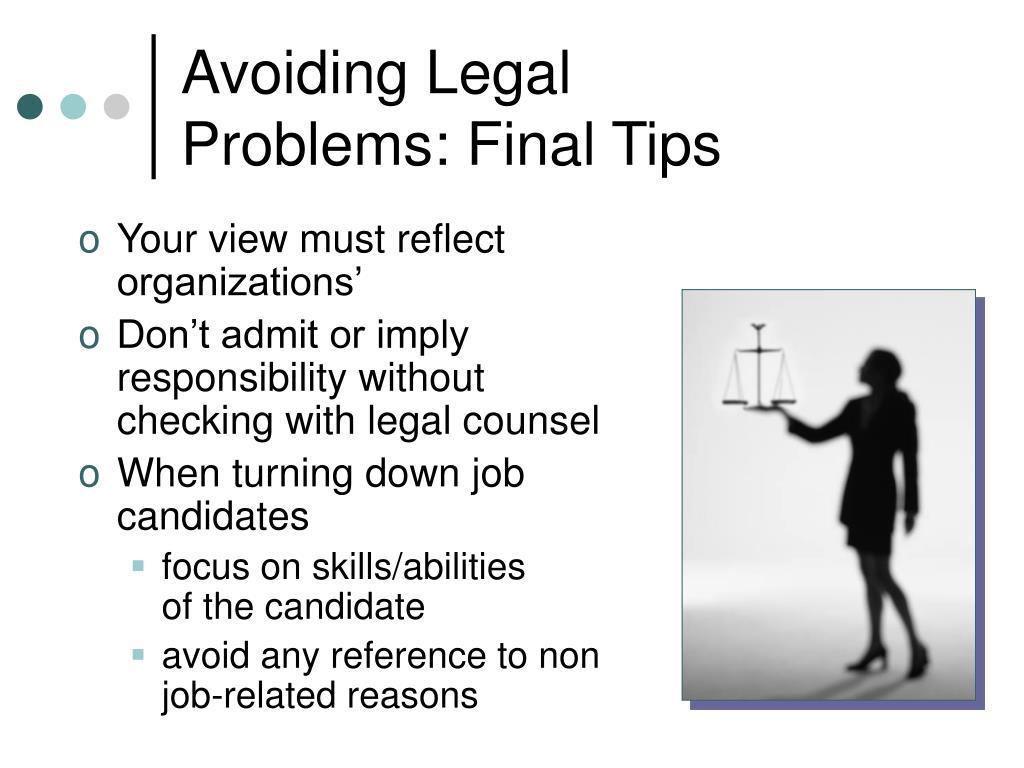 Avoiding Legal
