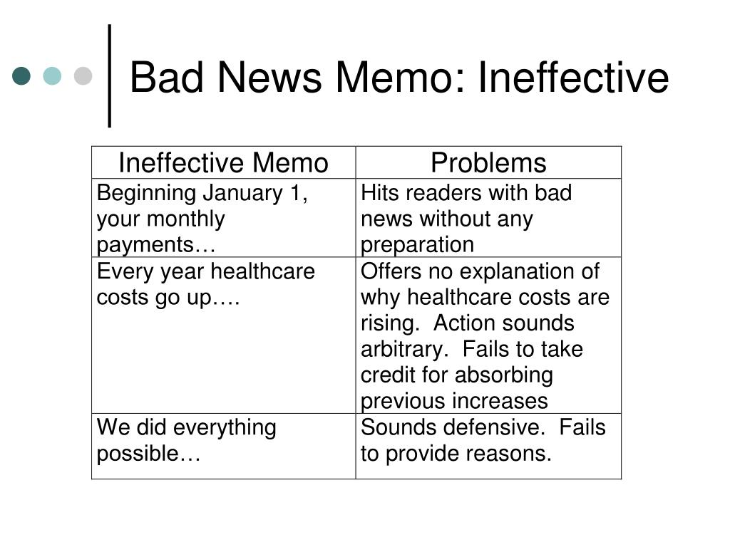 Bad News Memo: Ineffective