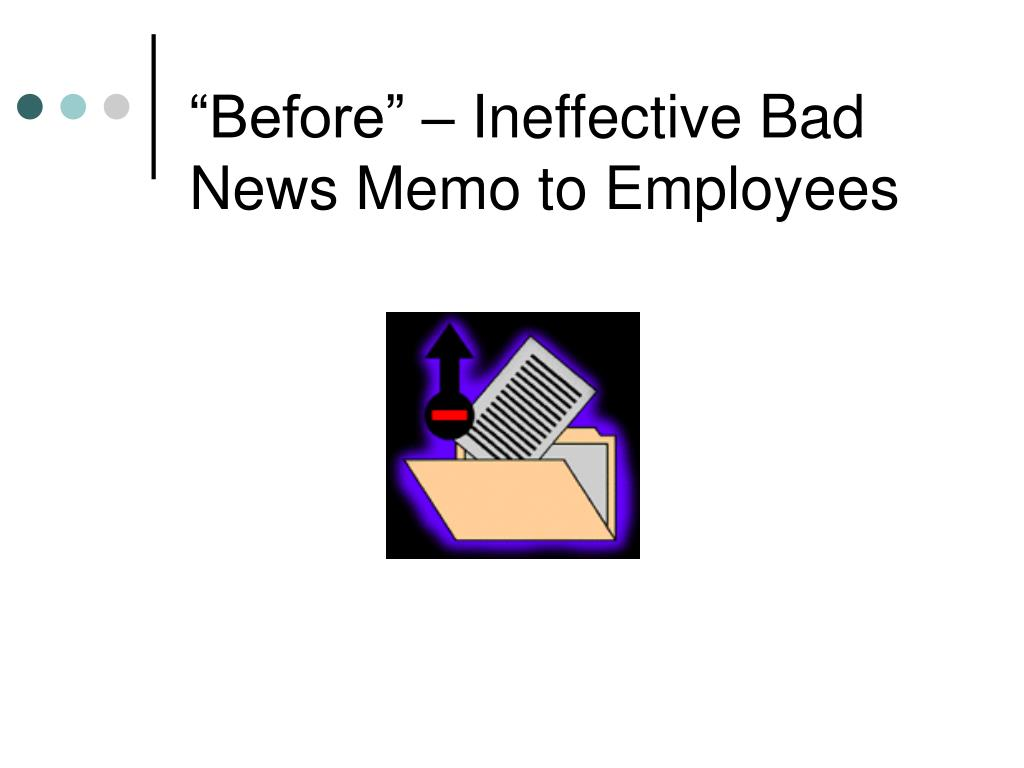 """""""Before"""" – Ineffective Bad News Memo to Employees"""