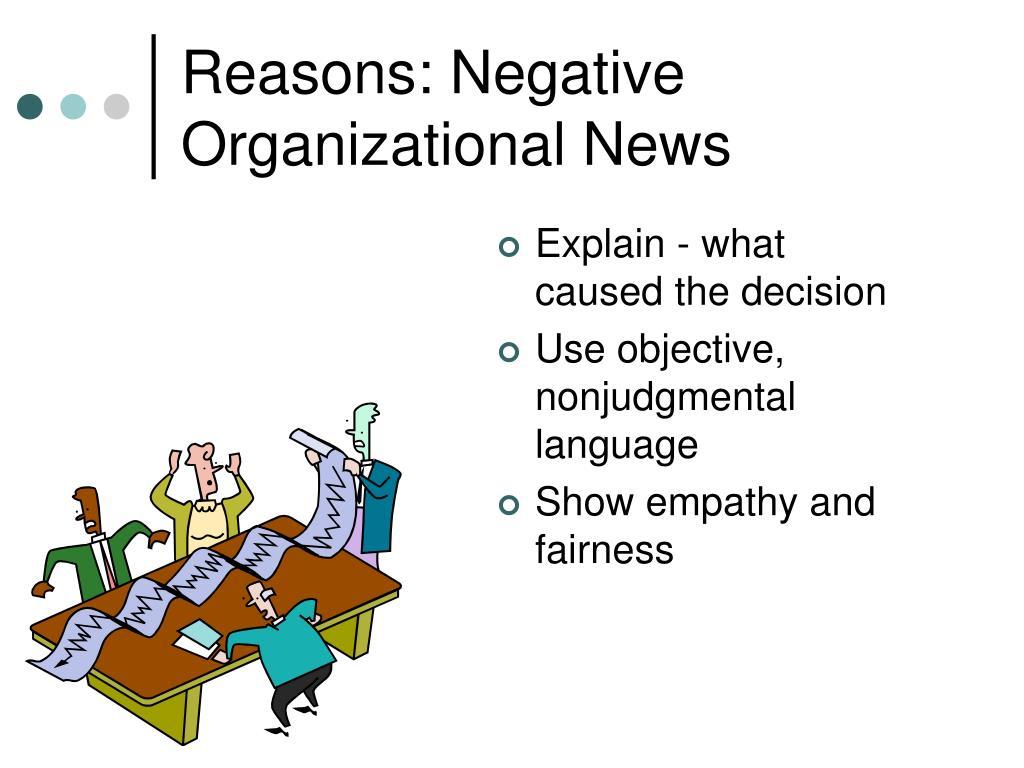 Reasons: Negative Organizational News