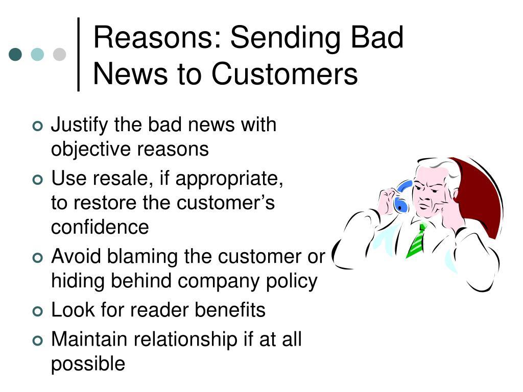 Reasons: Sending Bad News to Customers