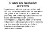 clusters and localisation economies