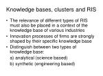 knowledge bases clusters and ris