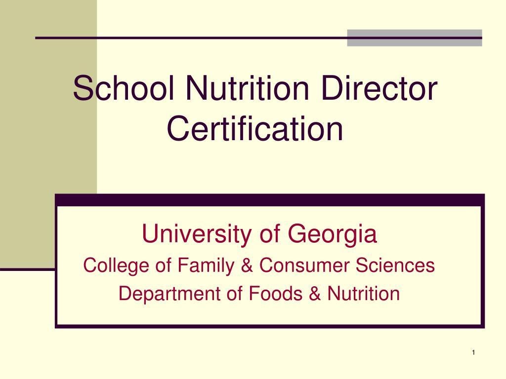 school nutrition director certification