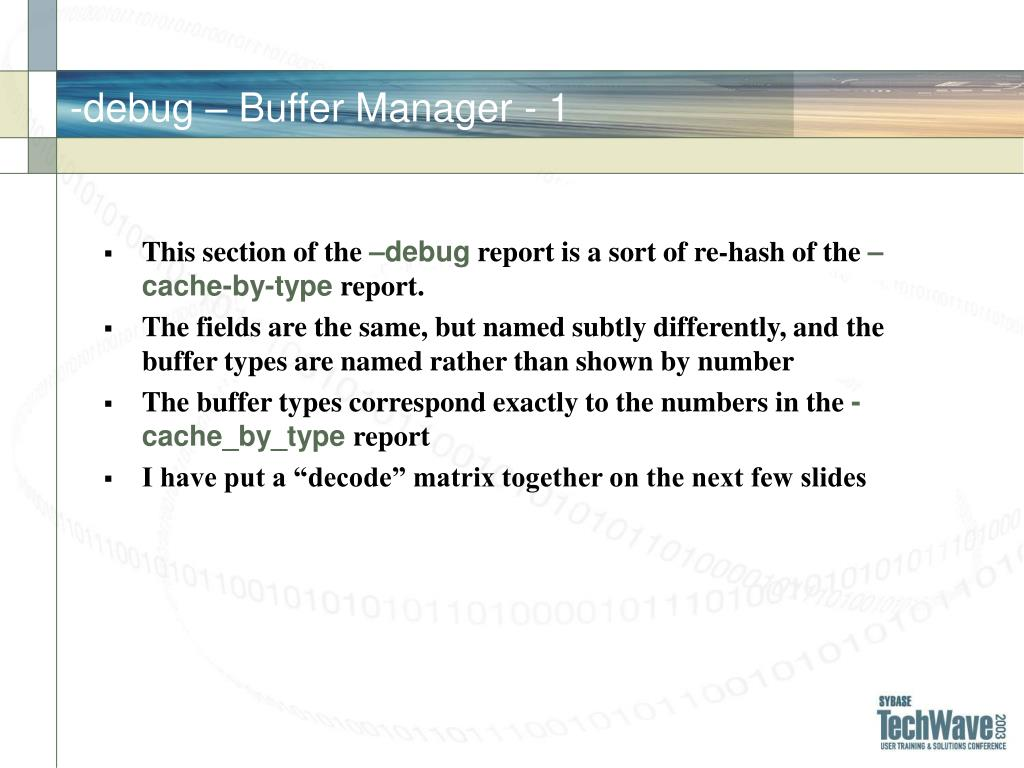 -debug – Buffer Manager - 1