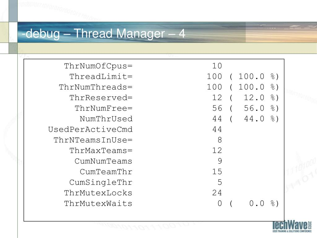 -debug – Thread Manager –