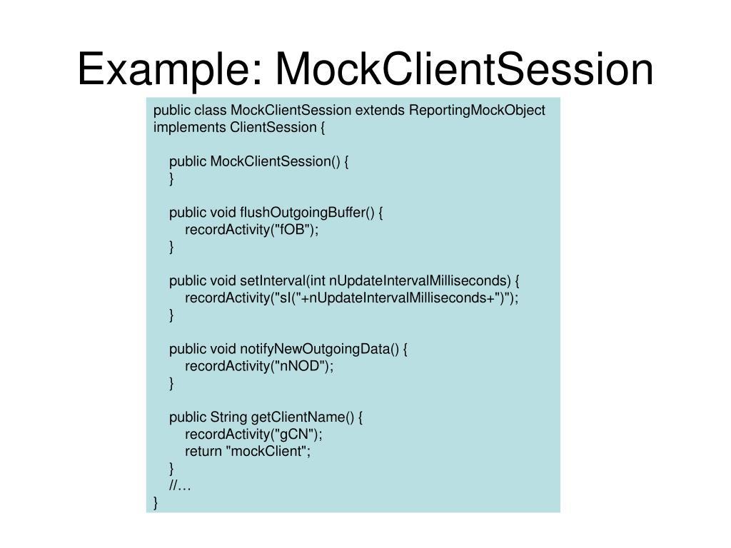 Example: MockClientSession