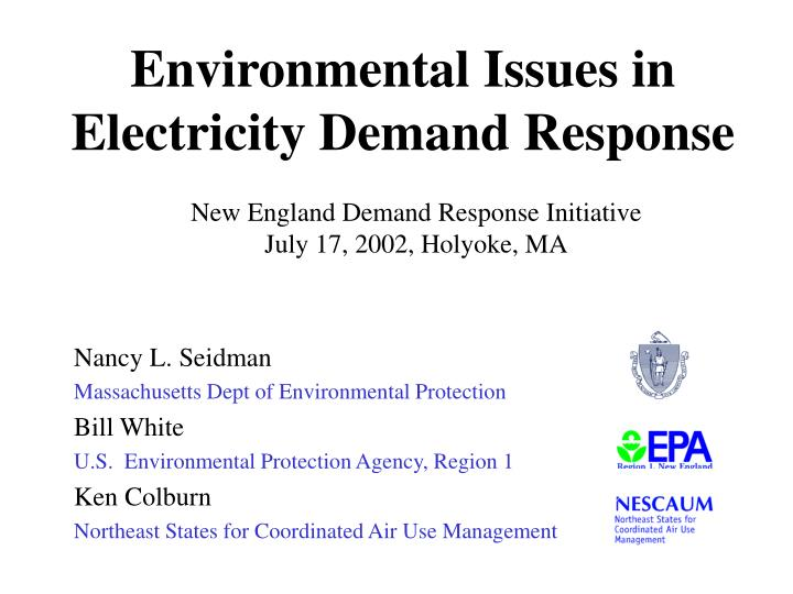 Environmental issues in electricity demand response