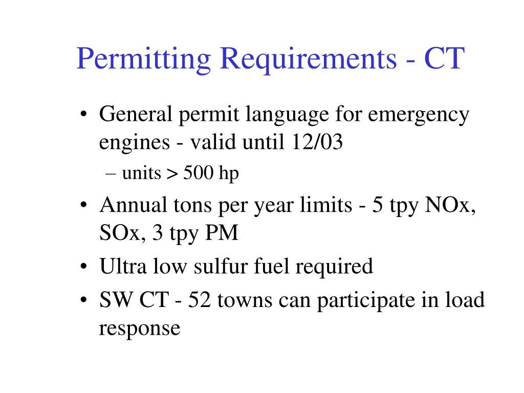 Permitting Requirements - CT